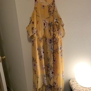 Maurices Dresses - Yellow Floral High Low Chiffon dress